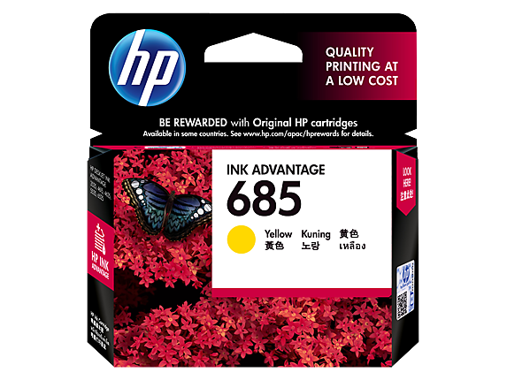 HP 685 Original Ink Advantage Cartridge (F6V35AA / 685) Combo 4 Pack (Black / Colour) / Yellow / Magenta / Cyan / Black