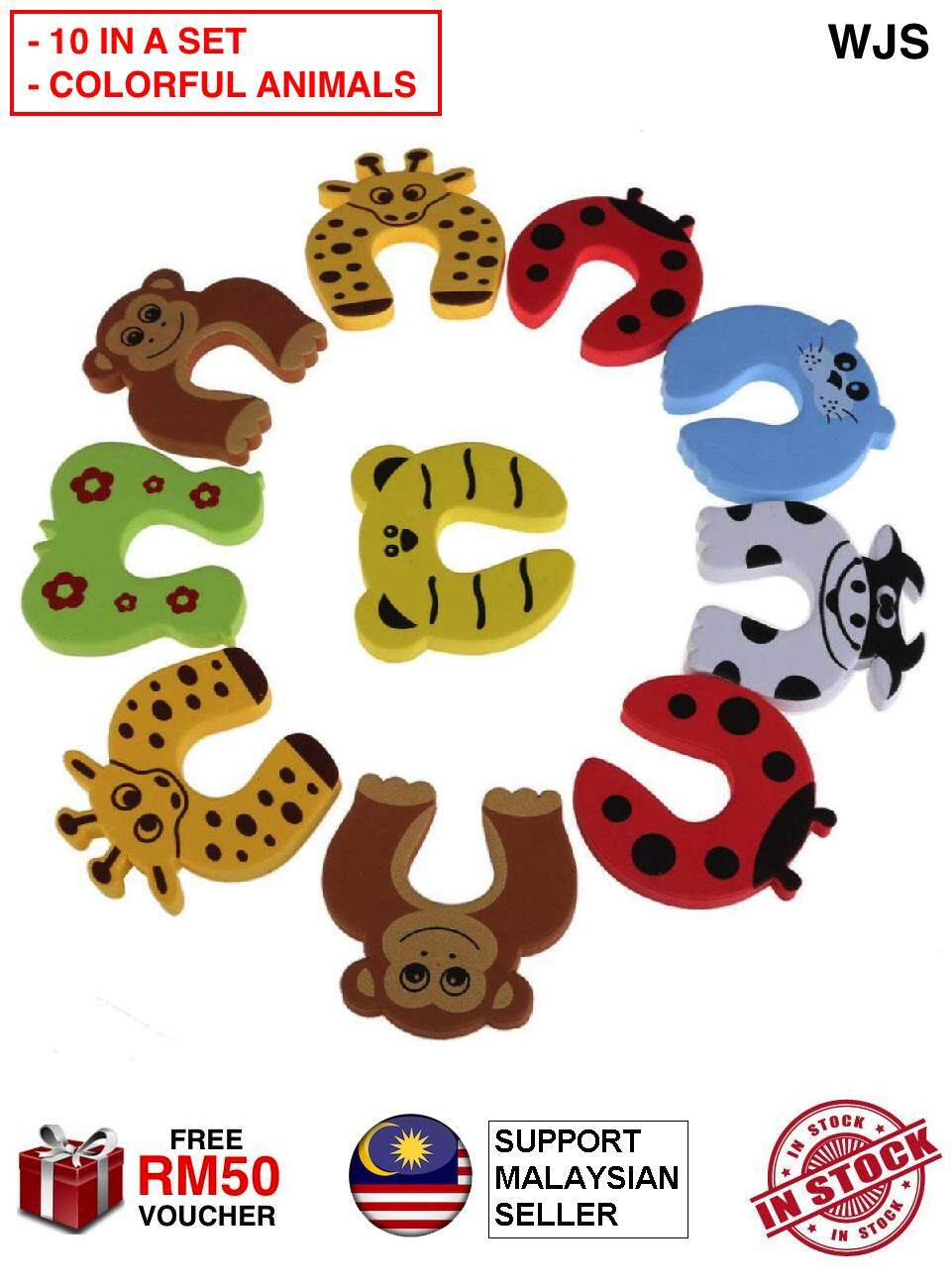 (COLORFUL ANIMALS DESIGN) WJS 10pcs 10 pcs Animal Cartoon Safety Door Stopper Clip Door Holder Drawer Baby Safety Protection Avoid Injury [FREE RM 50 VOUCHER]