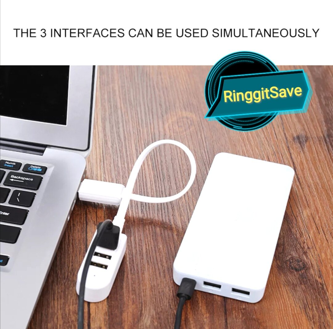 USB Flash Drive White Color USB 2.0 Hi-Speed 3-Port Splitter Hub Adapter For PC With Free Gift