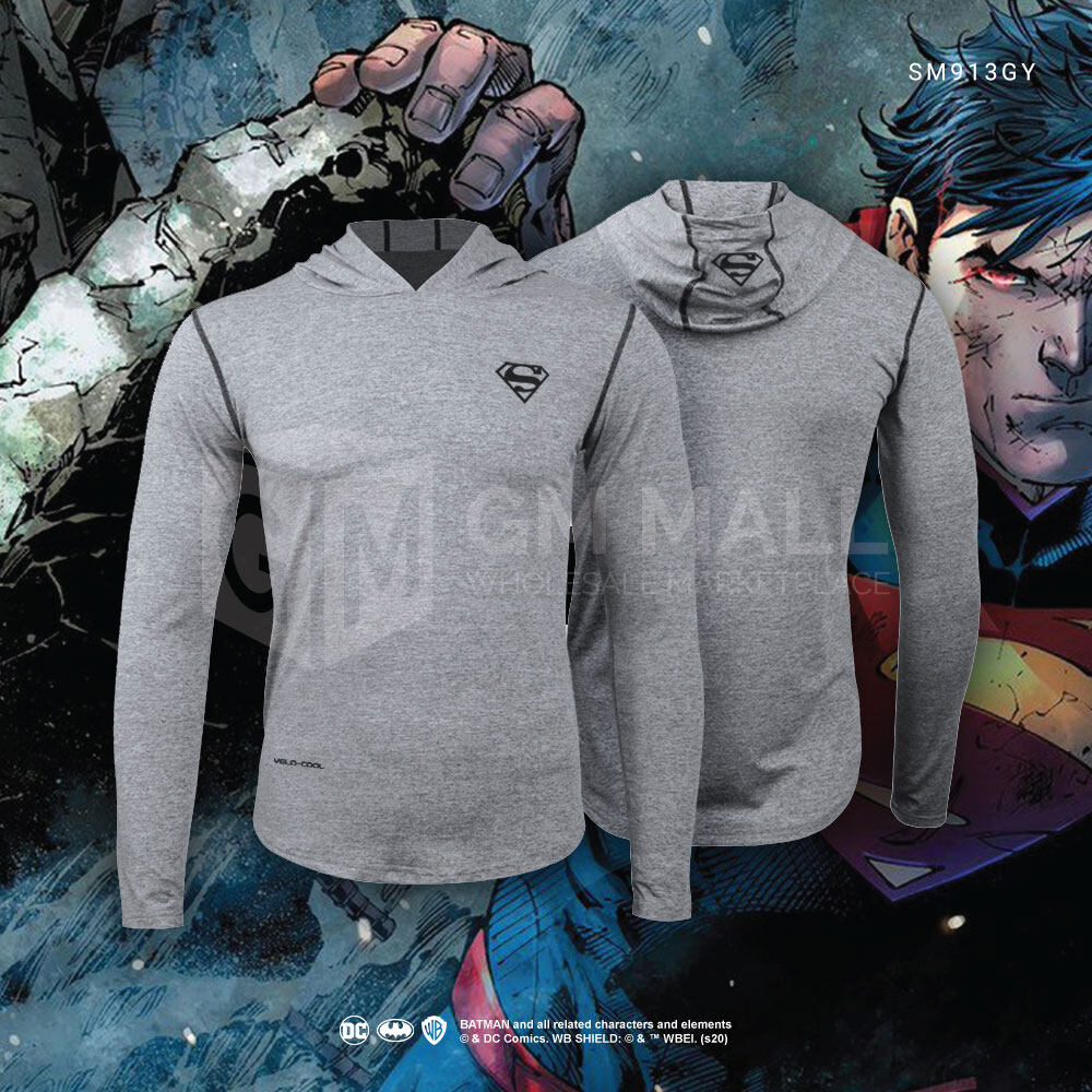 SUPERMAN DC Exclusive Sport Grey Sweater Hoodies - UNISEX Casual Long Sleeve Gym Jogging Running Jacket Sports Hooded Tops [SM913GY]