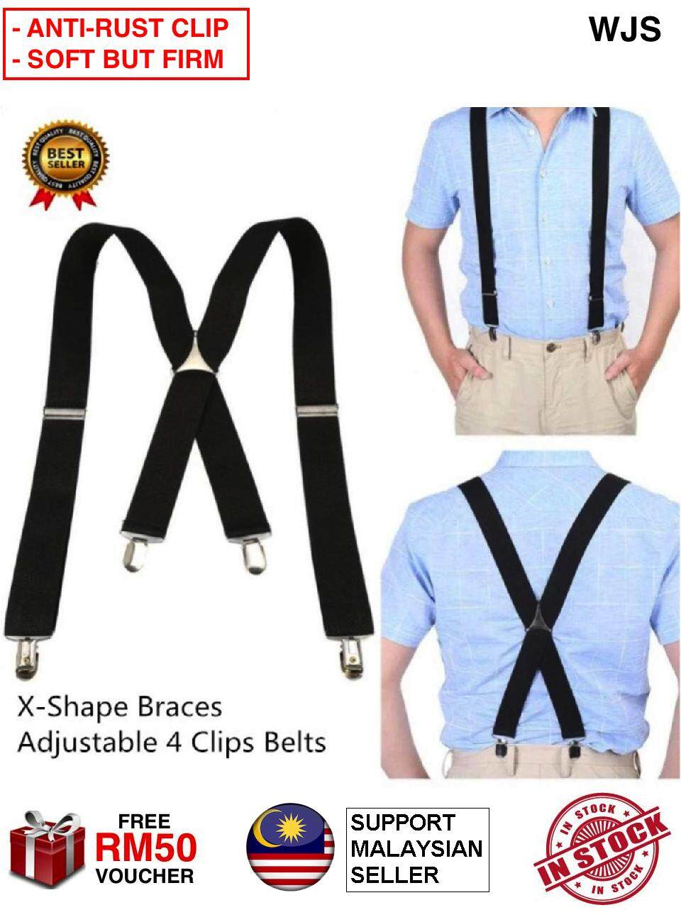 (SOFT BUT FIRM) WJS Elastic Suspender 3.5cm Width Men X-Shape Braces Y-Shape Braces Adjustable Strapper Strappers 4 Clips Belts Anti Rust Clip-on Braces Shirt Belt BLACK BROWN BEIGE RED BLUE [FREE RM 50 VOUCHER]