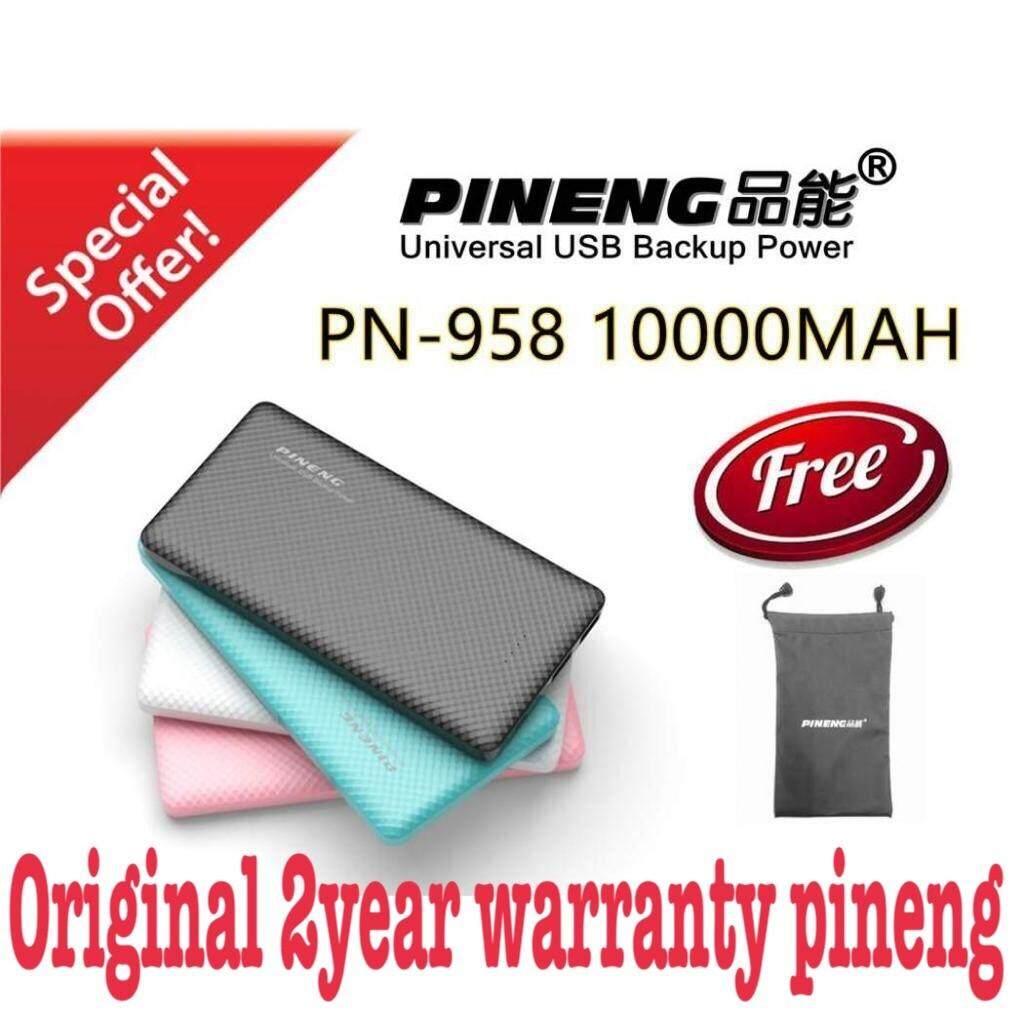 Ready stock 100% Original PINENG PN958 10000mah PN-958 PN958 PN 958 Ultra Slim USB Output 2.1A/1A
