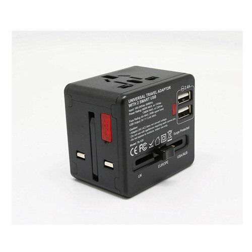 Soundteoh (TA-125) Universal Adapter With 2 Usb Port