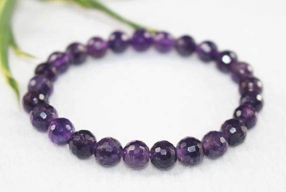 Natural Amethyst Quartz Bracelet/ Jewellery/ Elastic Bracelet/ Healing Crystal Bracelet