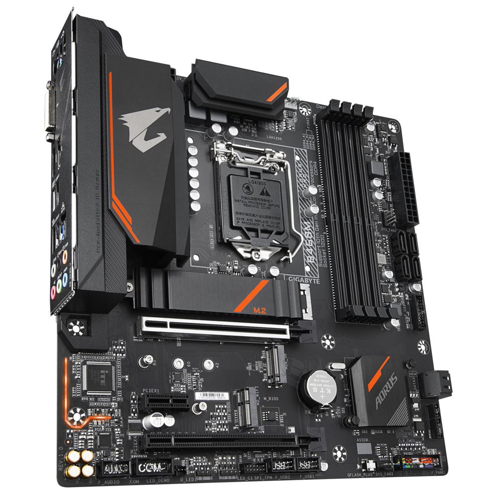 Gigabyte B460M AORUS PRO Mainboard,Intel Motherboard with RGB Fusion 2.0 with Digital LEDs, Intel GbE LAN with cFosSpeed, Advanced Thermal Design with Enlarged Heatsink, USB 3.2 Gen1 Type-C , Dual M.2 Slots, M.2 E-key Slot for PCIe WIFI Module Upgradable