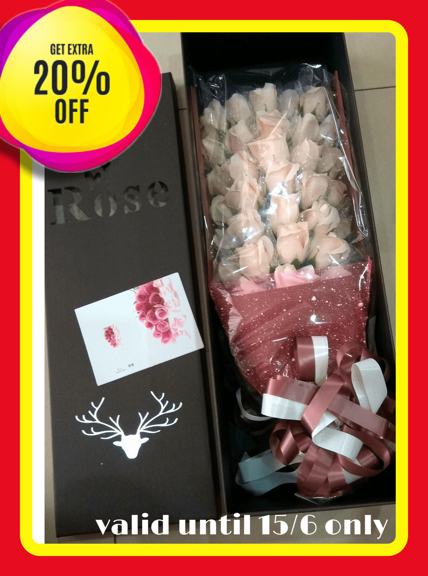 Handmade Bundle Valentine / Convo / Party 33 Fragrance Soap Rose Flower (Yellowish White) with box FREE card
