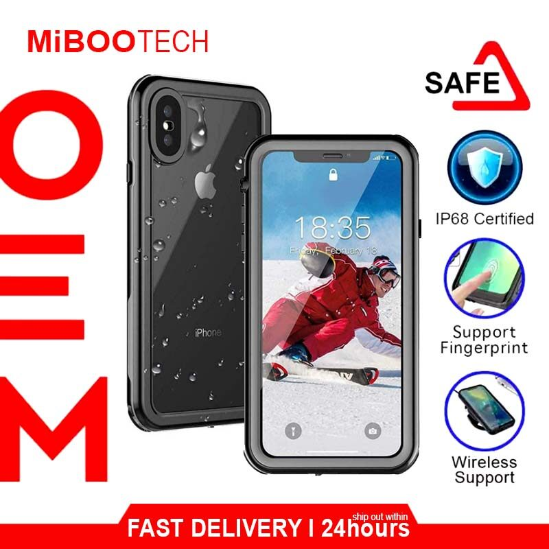 [Miboo] Tough Amor iPhone X Case / XS / XS Max Case Shellbox NEW Diving 3 Meter Waterproof Case Cover Rugged Armor IP68 Grade - Black - Black- iP XS Max