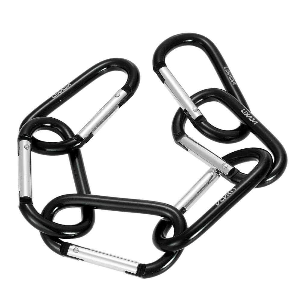 Lixada Pack of 6 Aluminum Carabiner Clip D-ring Locking Carabiner Keychain Hook (black)