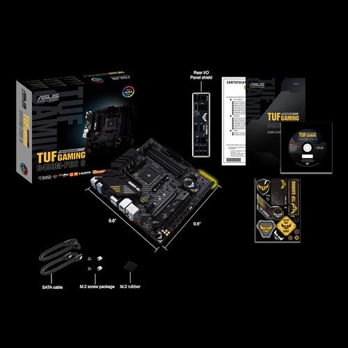 Asus AMD B450 (AM4) micro ATX gaming motherboard with PCIe 3.0, dual M.2,10 DrMOS power stages, 2.5 Gb Ethernet, AI Noise-Canceling Microphone, HDMI, DisplayPort, USB 3.2 Gen 2 Type-A and Type-C, and Aura Sync RGB lighting support (TUF GAMING B450M-PRO S)