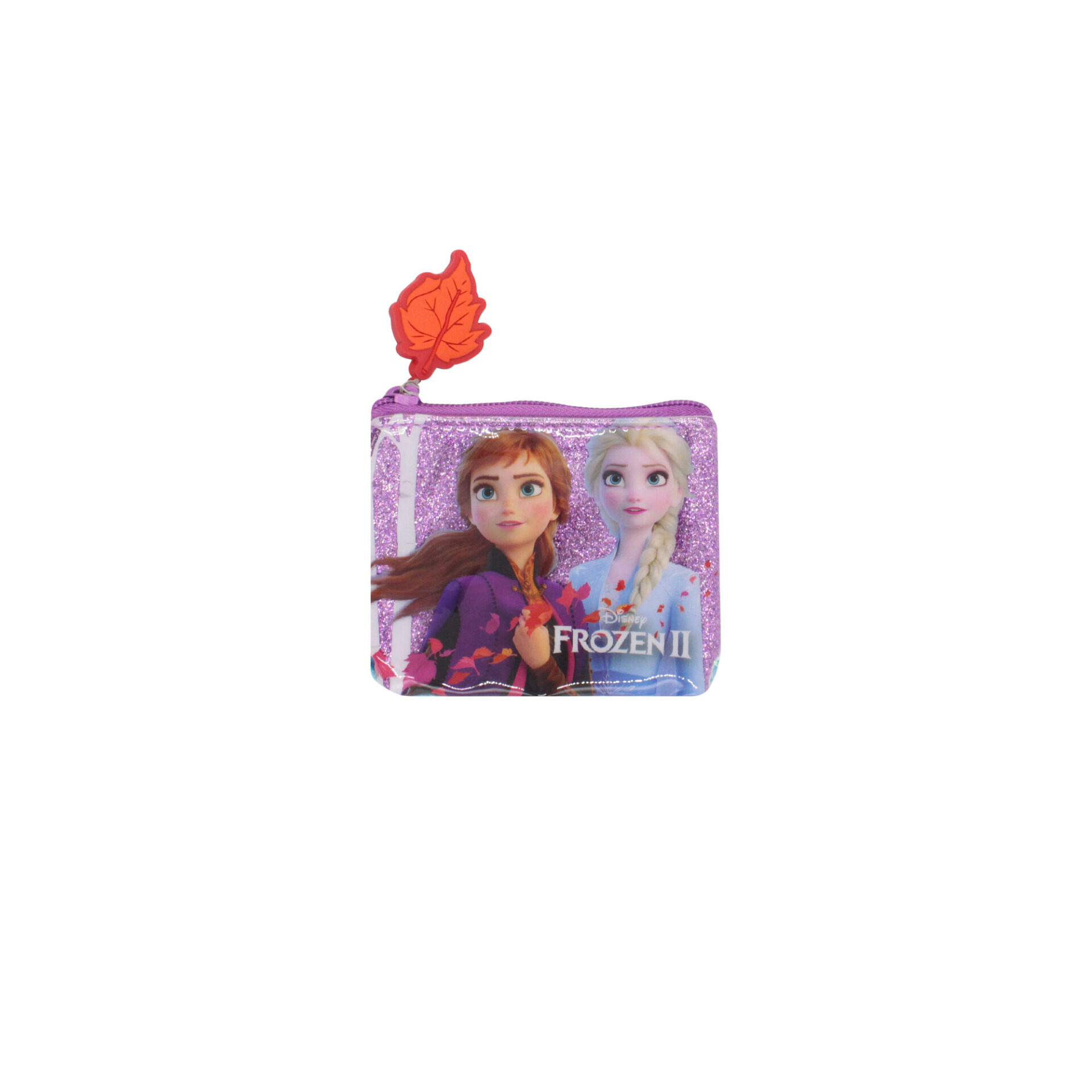 Disney Frozen 2 Princess Elsa & Anna Purple Glitter Zip Coin Purse With Blue Sequin For Girls