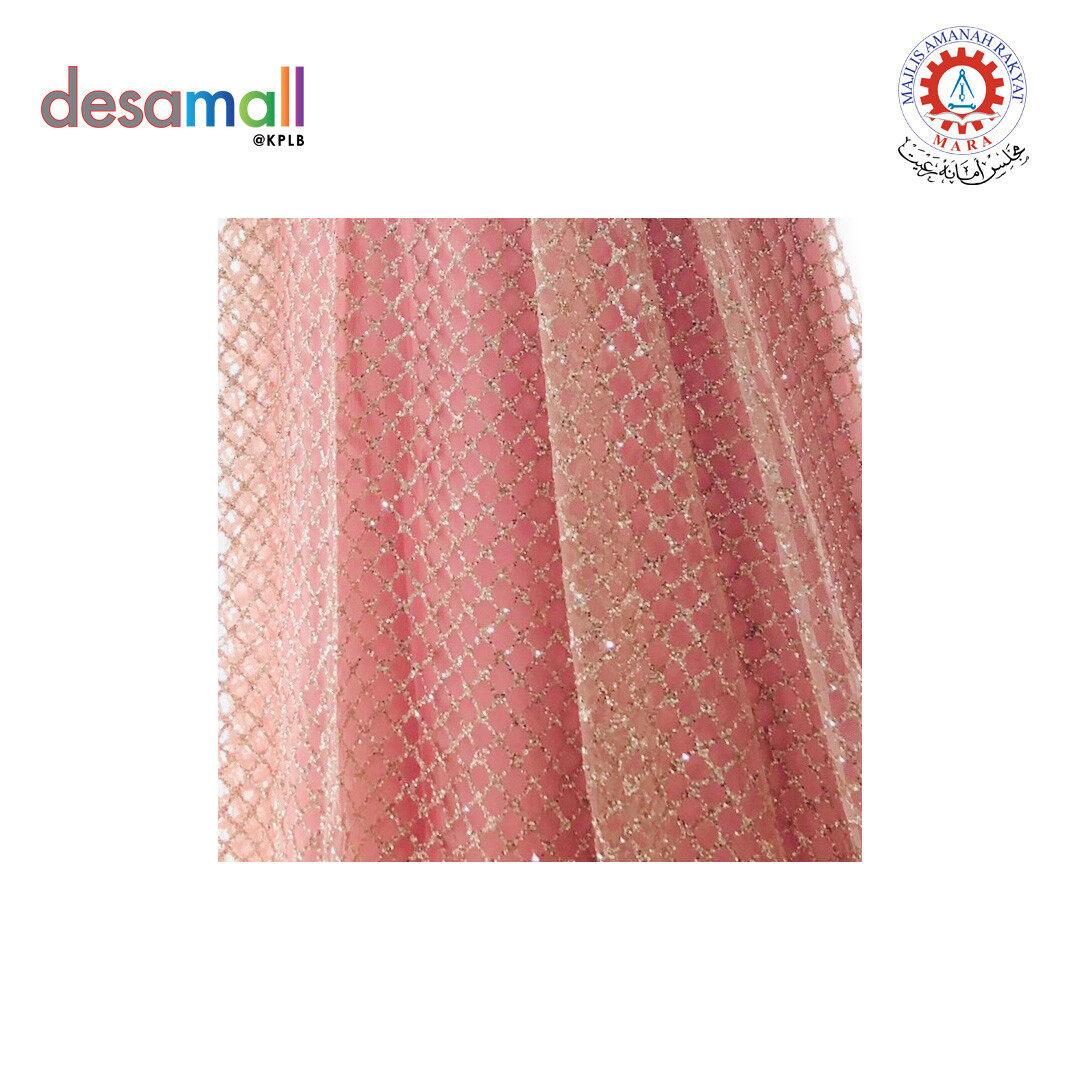 SHIMOFA Glitter Beaded Lace Square Pattern (G007)-Rose Gold