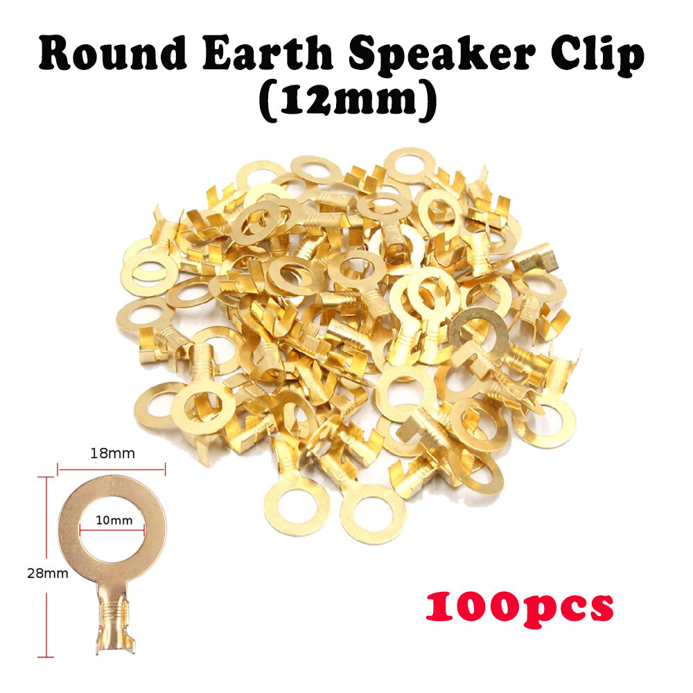 10mm / 12mm Gold Brass Terminal Wire Wiring Car Speaker Connector Speaker Clip - Round Earth 10mm 12mm