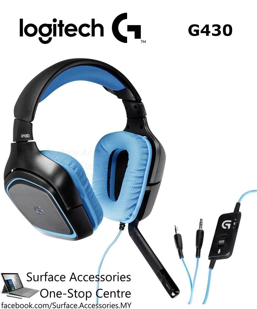 [MALAYSIA]Logitech G430 7.1 Surround Gaming Headset (981-00536) DTS Headphone Dolby Surround Sound Headphone Noise Cancelling Microphone USB DAC Headset Over Ear Headphone
