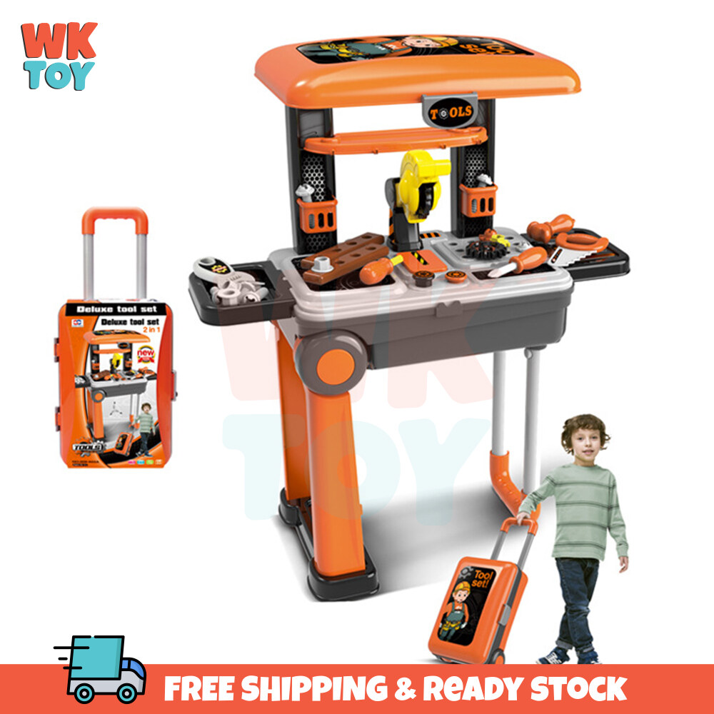 WK 2 In 1 Deluxe Tool Engineer set Pretend Play Set with Trolley Suitcase
