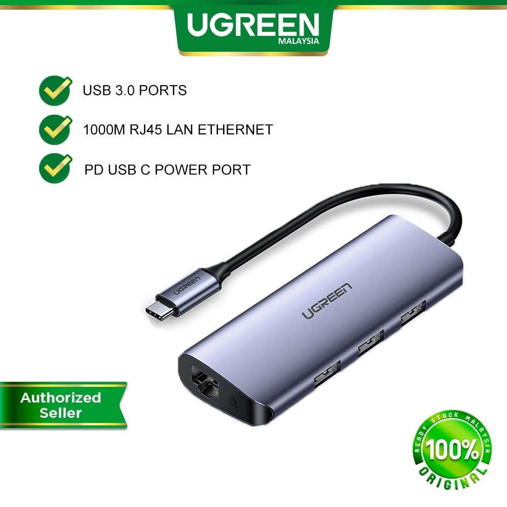 UGREEN 4 in 1 Multifunction USB C Hub Type C to USB 3.0 A Hub + RJ45 1000Mbps Gigabit LAN Ethernet + PD Charge Power Delivery Port For Macbook Pro Air Dell XPS 15 Chromebook Lenovo Asus Samsung S20 Laptop