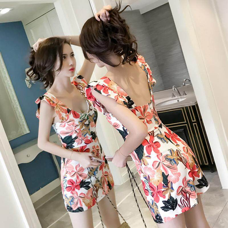 (Pre Order14 Days JYS Fashion Korean Style Women CNY Festive Red Jumpsuit Collection -5263076col526-3076--Floral-M