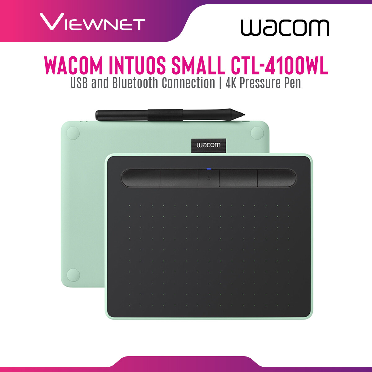 Wacom Graphic Tablet Intuos Small CTL-4100WL with USB and Bluetooth Connection, 4 Customizable ExpressKeys, 4K Pressure Pen