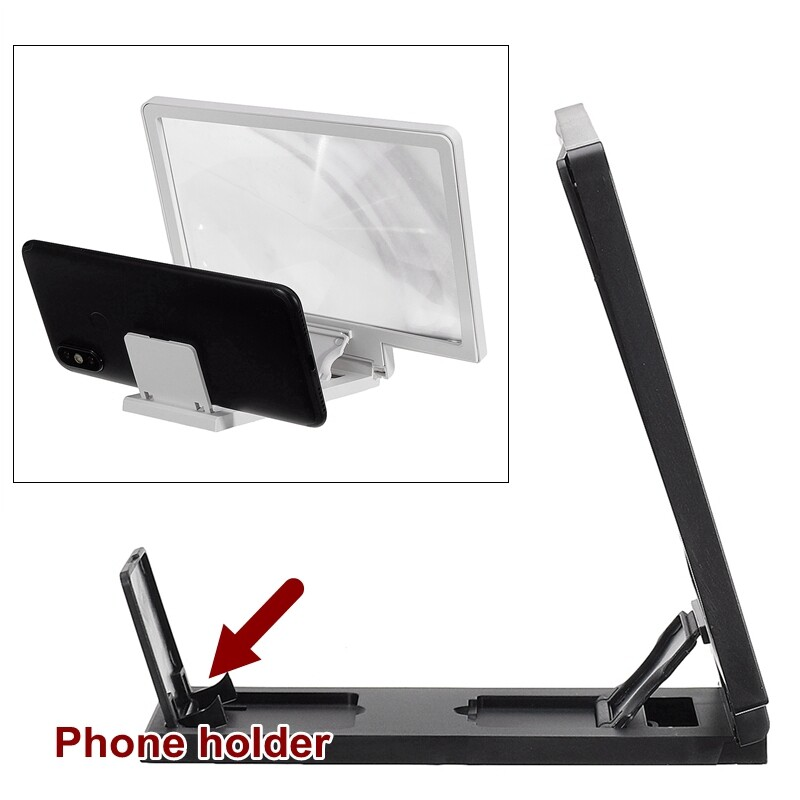 Phone Holder & Stand - 7.8 inch Phone Screen Magnifier Cell Phone 3D Amplifier PORTABLE Foldable Dock-3c - WHITE / BLACK