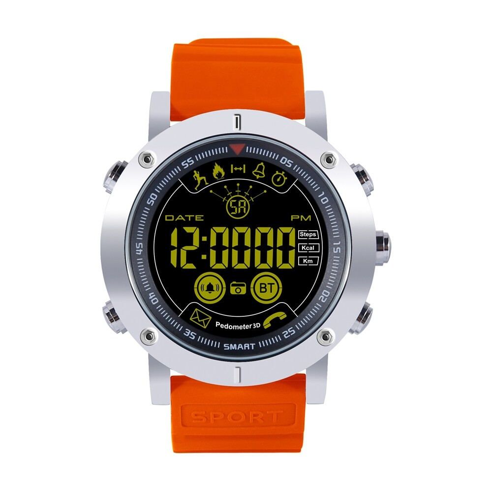 Smart Watch - EX19 ALL-day Activity Record Metal Body Luminous 5ATM Message 12 Month - BLACK / ORANGE / BLUE