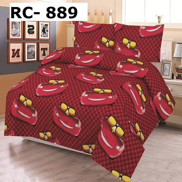 RED CHERRY: Single Fitted Sheet Set - 100% Cotton Rich: 360 TC:-