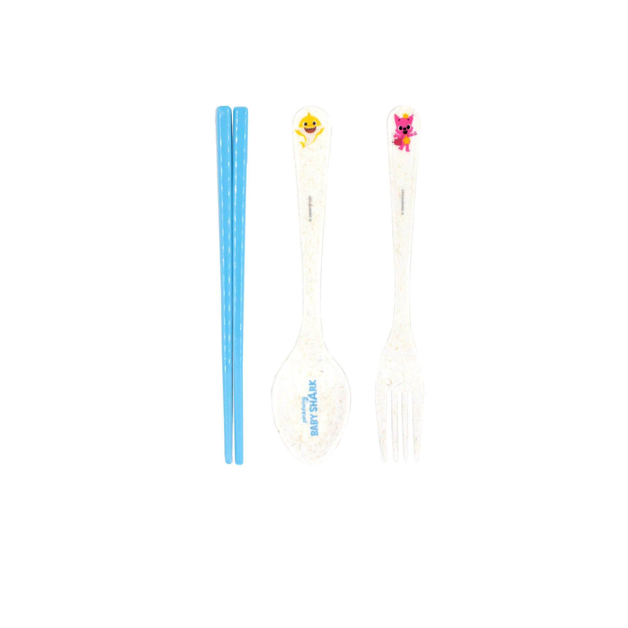Pinkfong Baby Shark Melamine Chopstick Fork & Spoon Set