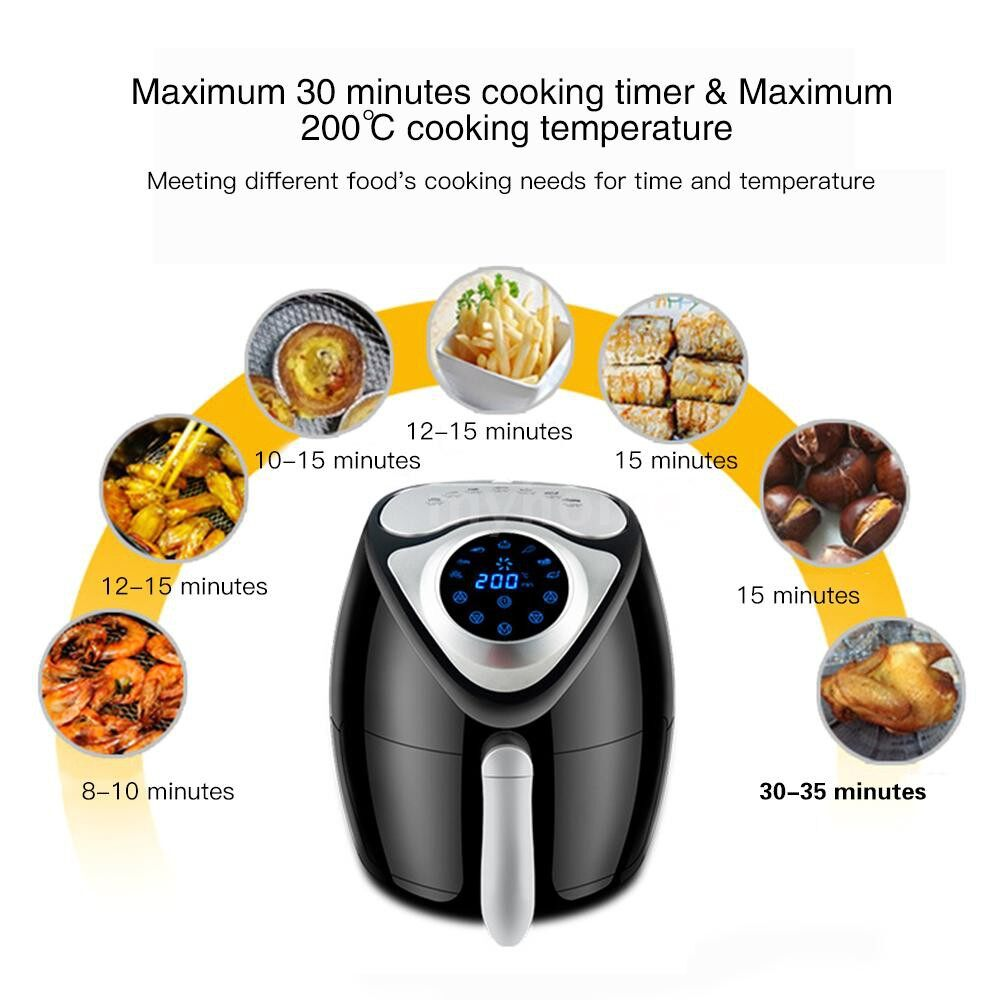 Small Kitchen Appliances - 1300W 2.6L Large Capacity Intelligent Electric Air Fryer with Digital LCD Display Oil Free - Home