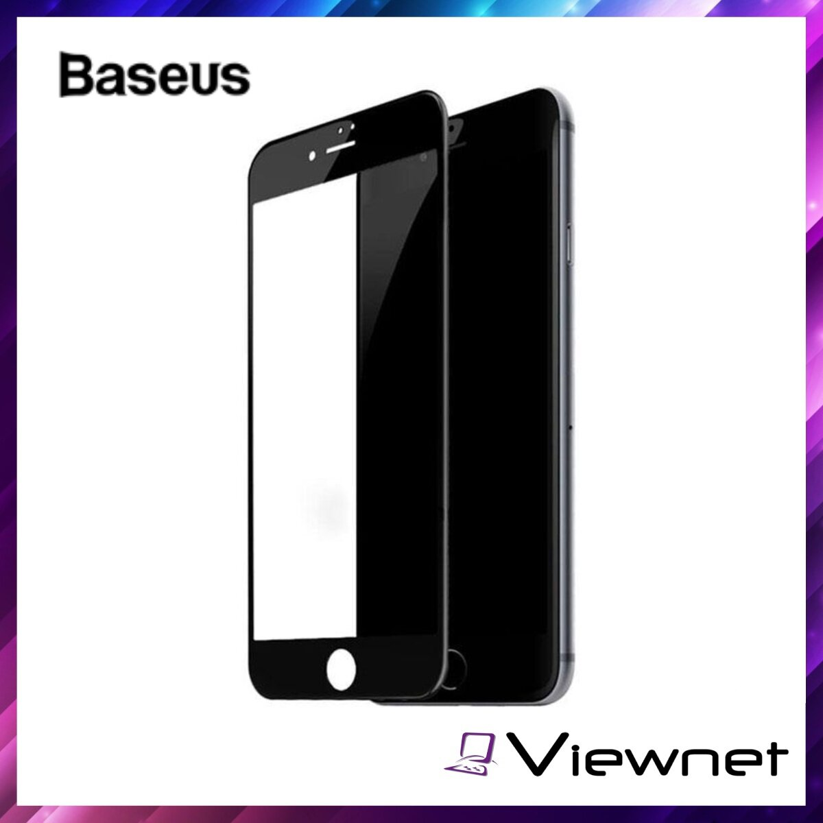 Baseus 0.3mm All-screen Arc-surface Tempered Glass Film, For iPhone 7 Plus / 8 Plus, Full Edge Coverage, 9H Hardness, Ultra Thin Design, Anti-Shock, Black / White