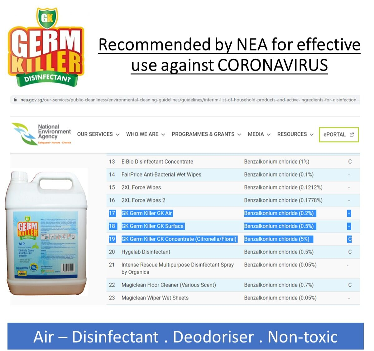V-KILL (VK1) + GK Air (Green Tea) 5L. Air Disinfection Solution. For home, office, indoors.