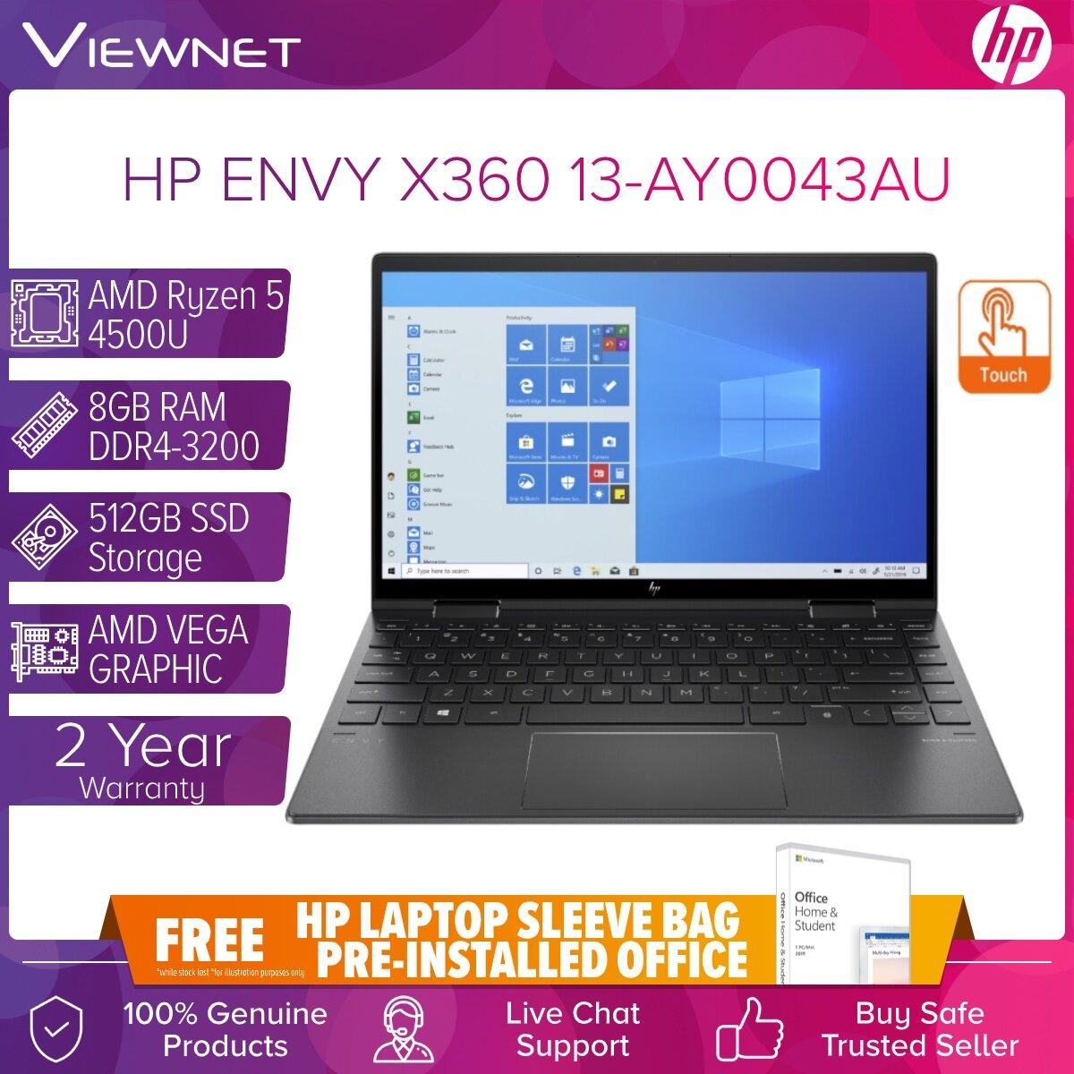 HP ENVY X360 13-AY0043AU (2 IN 1) CONVERTIBLE LAPTOP AMD RYZEN 5 4500U 8GB DDR4 512GB SSD AMD RADEON W10 13.3