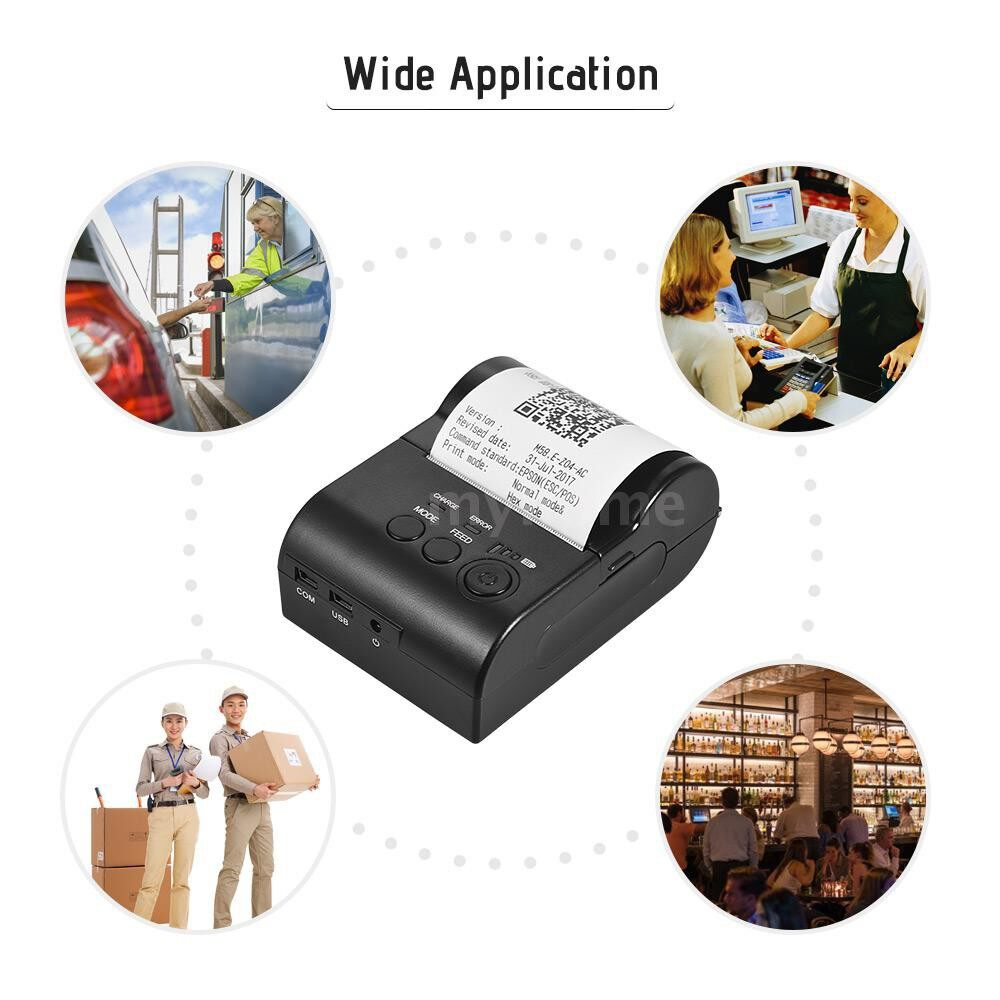 Printers & Projectors - PORTABLE Personal MINI 58mm WIRELESS BT Thermal Receipt Printer Bill Ticket Printing Compatible - Computer & Accessories
