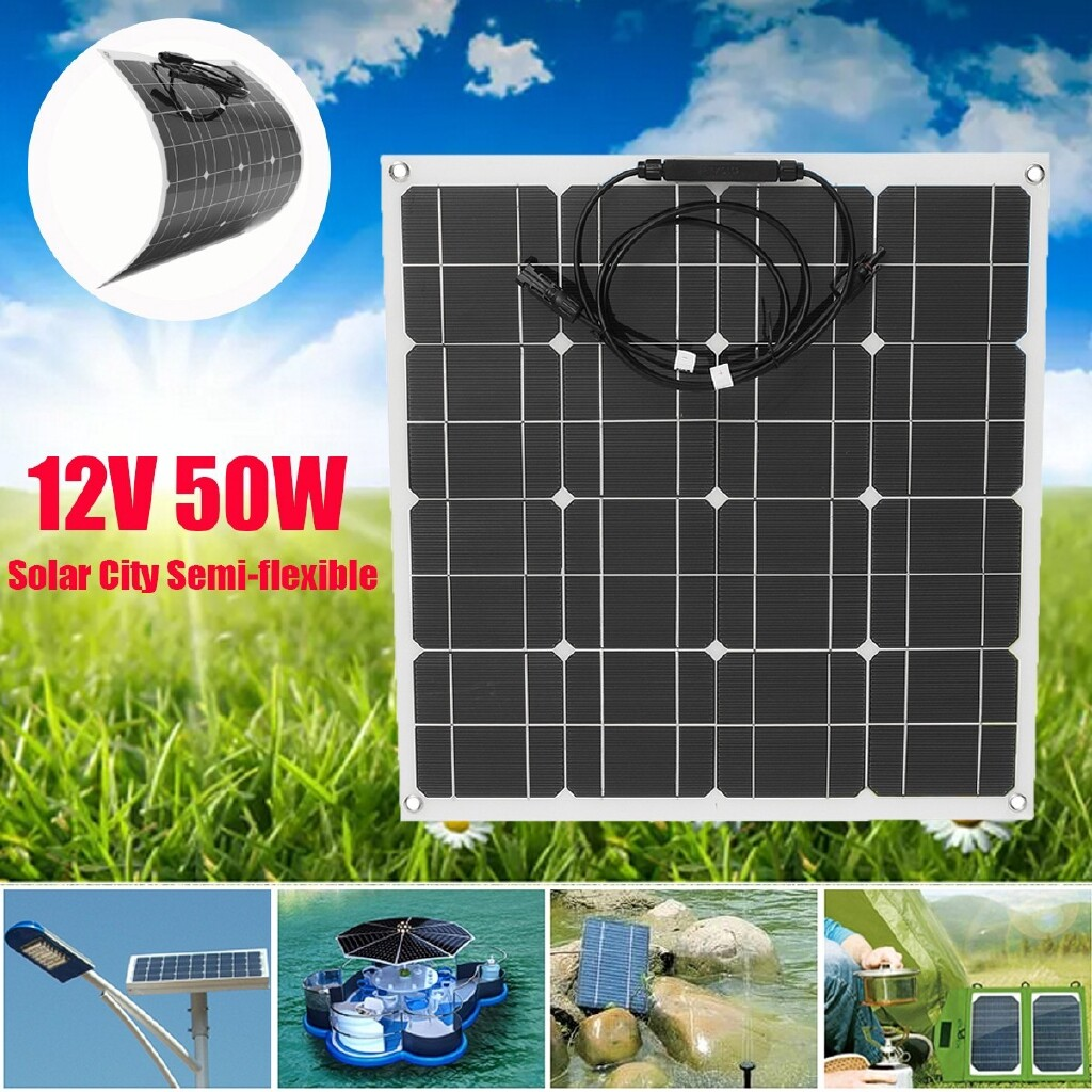 Power Tools - 50W 12V Semi-flexible Solar Panel Off Grid Cable Home RV Boat Battery Charger - Home Improvement