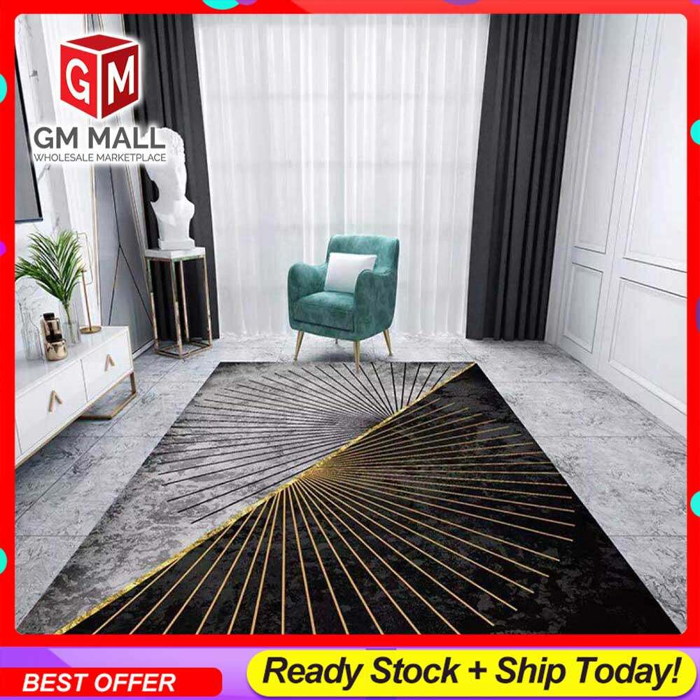 NEW DESIGN CARPET SIZE BESAR L/XL European Style Carpet Printed 3D Black and White Stripe Mat Floor - Karpet Bercorak 3D Waterproof/Living Room/Bedroom Material Velvet (C-26)