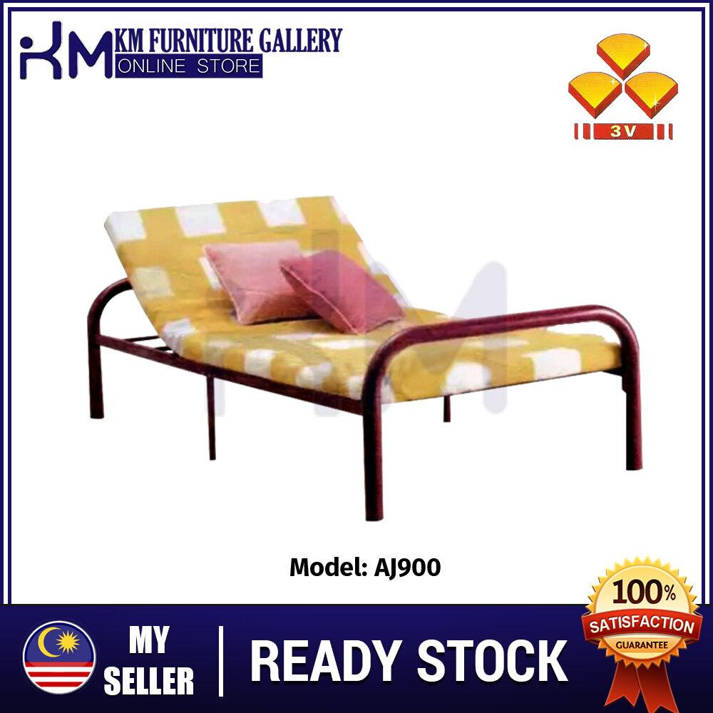 KM Furniture ?Hot Selling 3V Single Size Metal With Head Adjustable Metal Bed Frame/ Katil Bujang (AJ900) KMAJ900