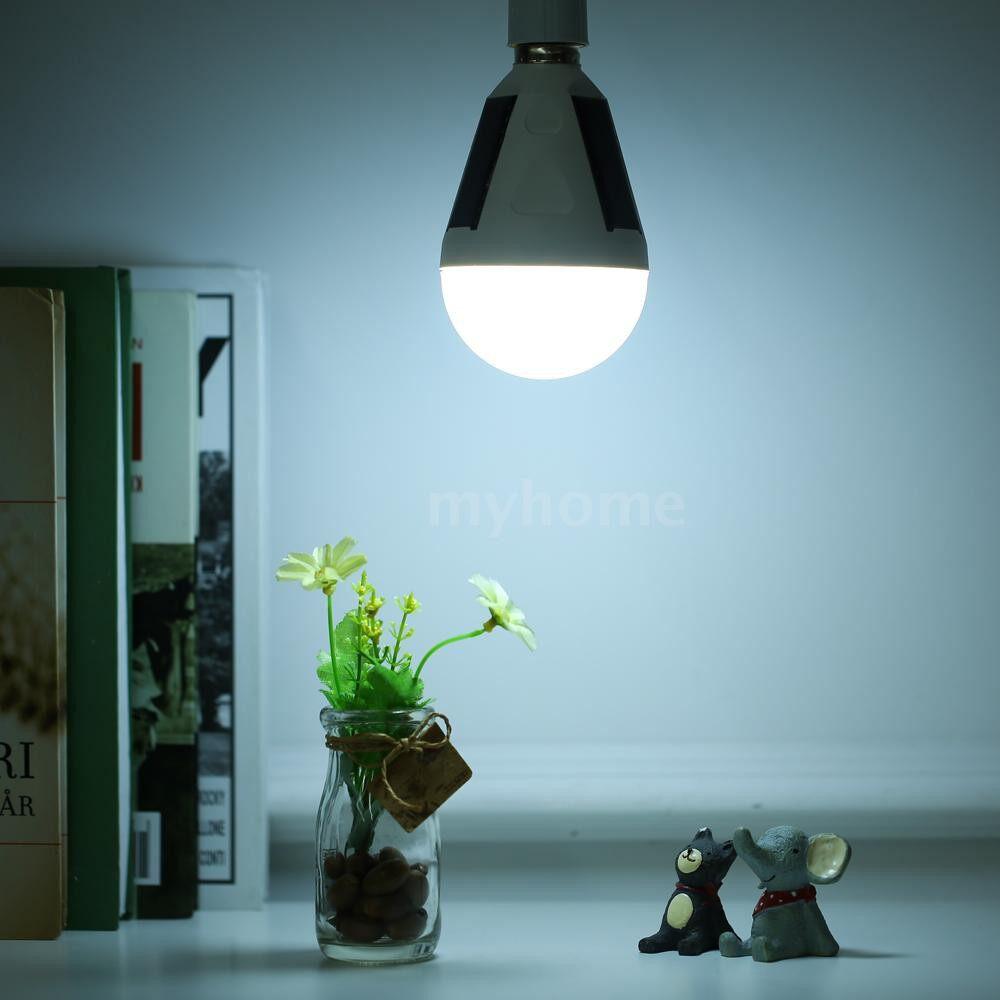 Outdoor Lighting - AC220V 7W E27 LED Globe Bulb Solar Charging Emergency Bulb Camping Fishing Lamp - WHITE