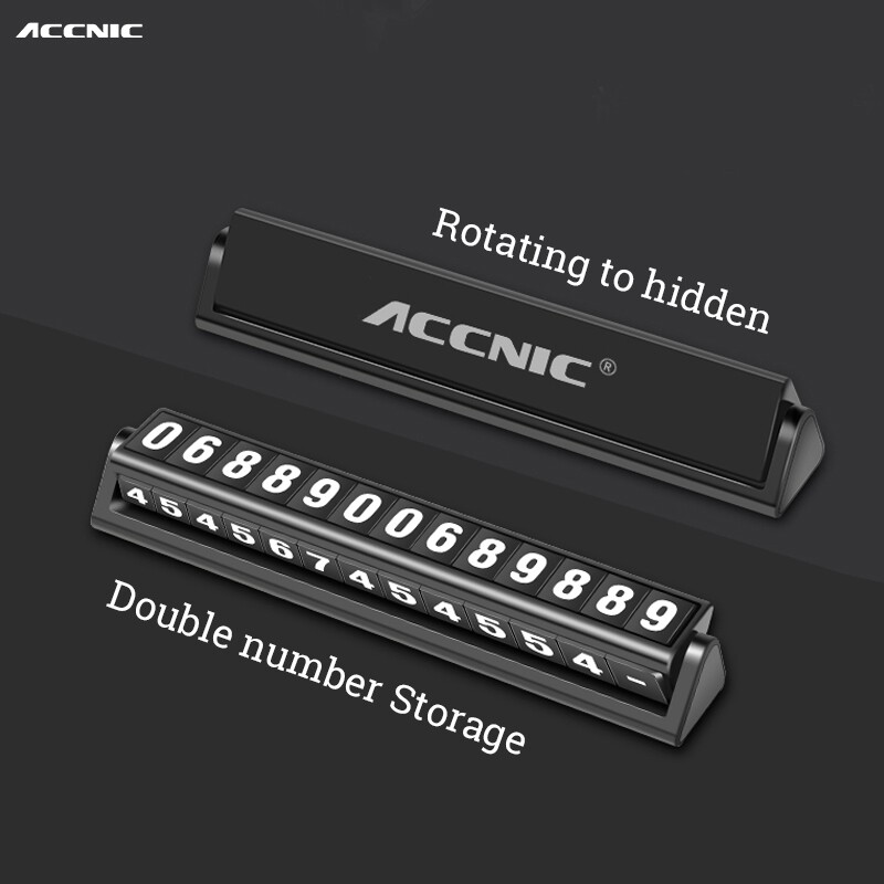 Moto Accessories - Accnic L4 Temporary Car Parking Phone Number Card Luminous Display Rotatable - SILVER / BLACK