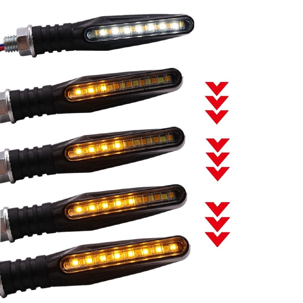 Car Lights - Pair 15 LED White and Yellow Motorcycle Flasher Flowing Turn Signal Light DRL - Replacement Parts