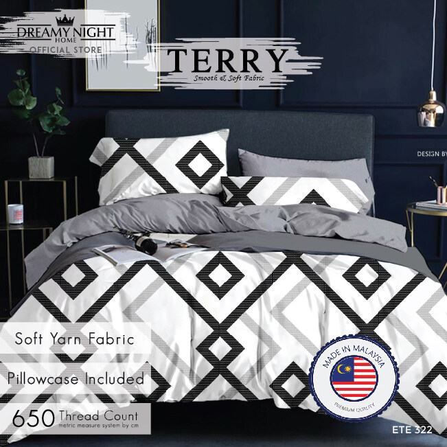 [FACTORY PRICE] Comfort Bay TERRY Fitted Set Super Single/Queen/King Bed Sheet Cadar - Pillow case Included 650TC High Quality Modern Design Korean Style Mattress Cover Soft & Comfortable Bedding Sets Cotton Feel Dreamy Night Dreamynight Comfortbay