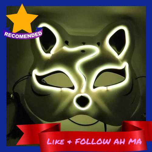 Best Selling 10 Color Fox Half Face Mask Neon Lights Halloween Party Led Lampshade Dark Glowing Cosplay Mask Party Costume Mask (Yellow)