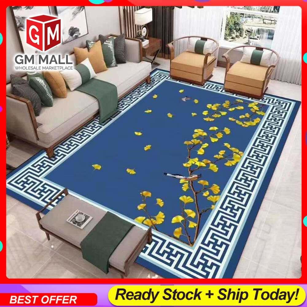 NEW DESIGN SIZE BESAR L/XL European Style Carpet Printed 3D Blue Yellow Flower Mat Floor - Karpet Bercorak 3D Waterproof/Living Room/Bedroom Material Velvet