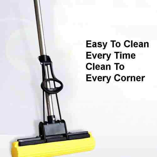 100% Money Back Guaranty 10X & Easy Dryty Sponge Mop Cotton Roll Wheel Wring Out Water Sponge Mop
