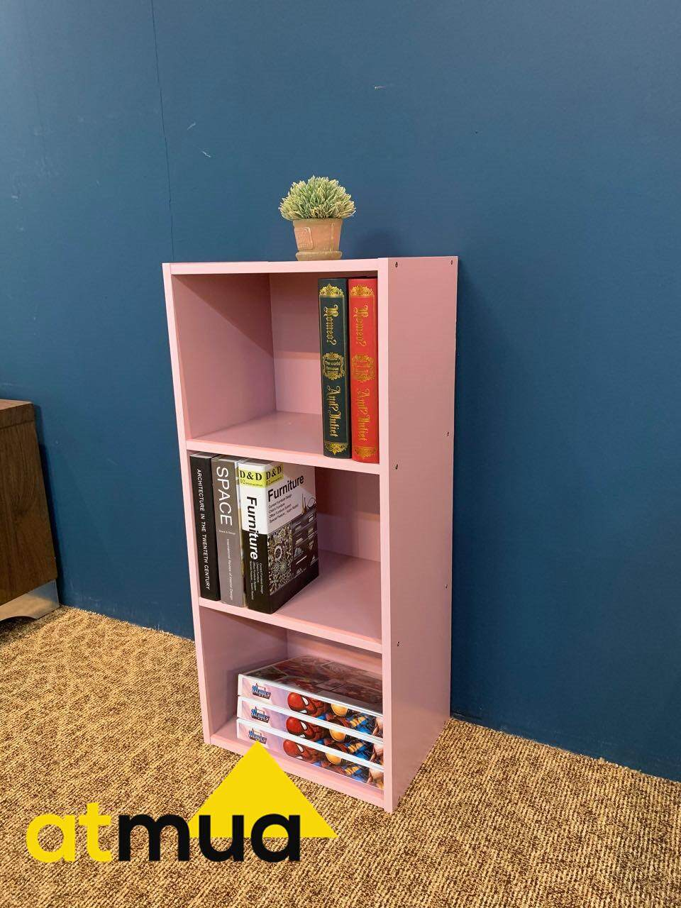 Atmua Big Size 3 Tier Color Box / Utility Shelf / Book Shelf / DIY Multi-Purpose Wooden Solid Board Storage Box 90cm Height Cabinet Book Shelf Space Saving Living Room Bathroom Kitchen Office Indoor & Outdoor Use