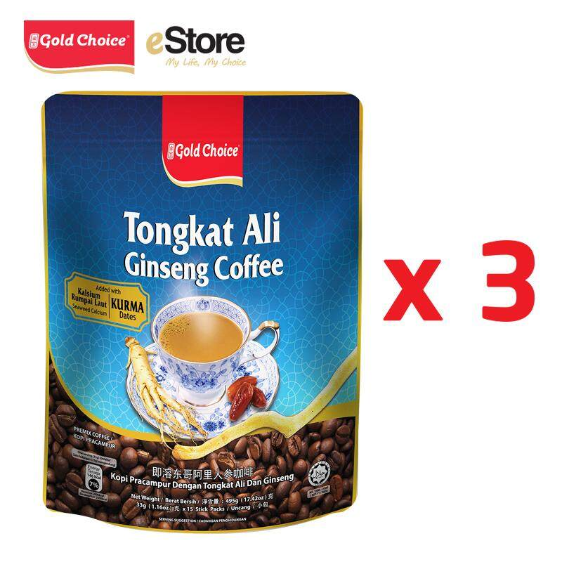 GOLD CHOICE Tongkat Ali Ginseng Coffee With Dates And Seaweed Calcium- (33g X 15'S) # 3 Packs Bundle