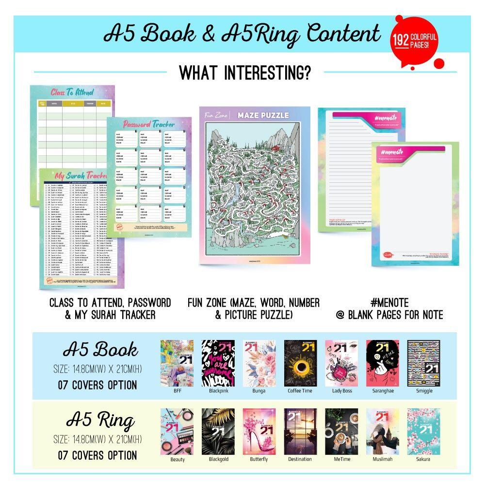 Planner Book 2021 + FREE ! School Planner #7designs Ready Stock