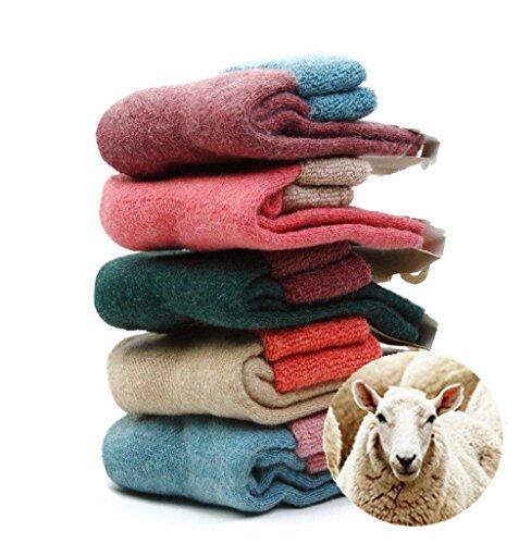 NEW 5 Pairs Women Sheep Wool Winter Knit Warm Causal Socks High Quality