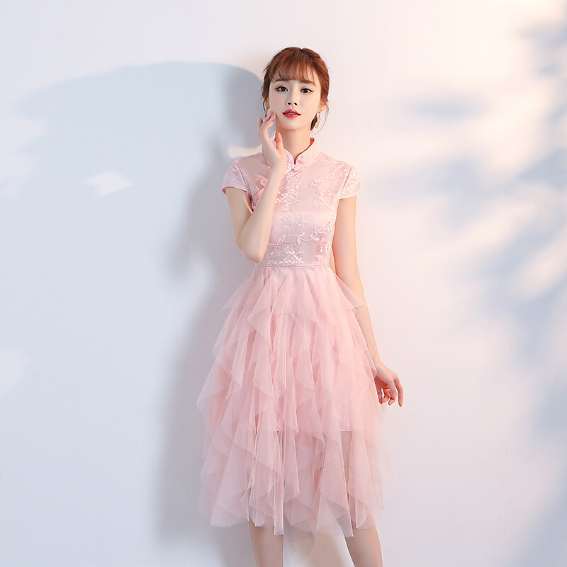 (PRE ORDER) WOMEN FASHION CHEONGSAM DRESS WITH LAYER SKIRT BELOW
