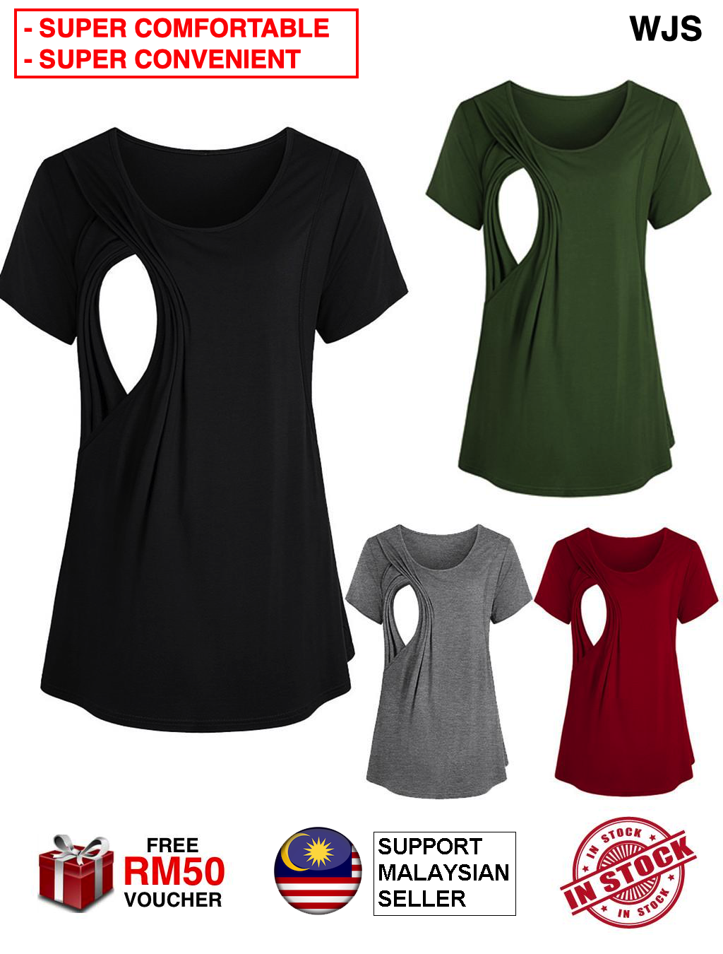 (SUPER CONVENIENT SUPER COMFORTABLE) WJS Women Maternity Blouse Nursing Blouse Breastfeeding Blouse Pregnant Shirt Nursing Top Breastfeed Blouse Baju Menyusu BLACK GREEN RED [FREE RM 50 VOUCHER]