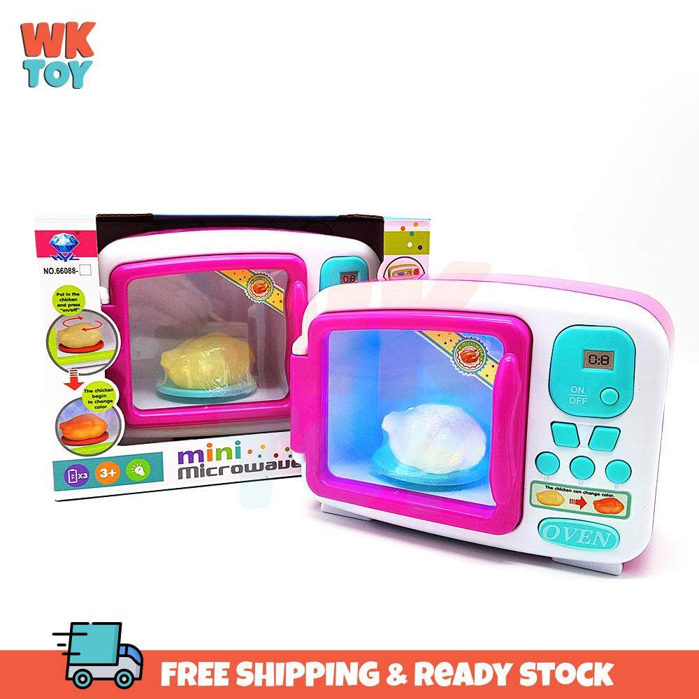 WK Simulate Microwave Oven Kitchen Toys Children Pretend Play Lighting Cooking Set Chicken Colour Change