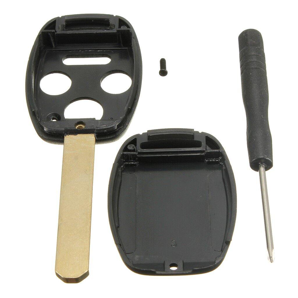 Car Accessories - 4Button Remote Key Shell Case w/Screw No Chips For 05-11 Honda Accord Civic CR-V - Automotive