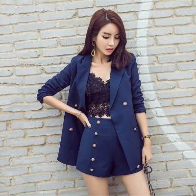 (Pre Order14 Days  JYS Fashion Korean Style Women Blazer +BottomSetCollection515-6155col515-6155--Pattern 1 Blue -S