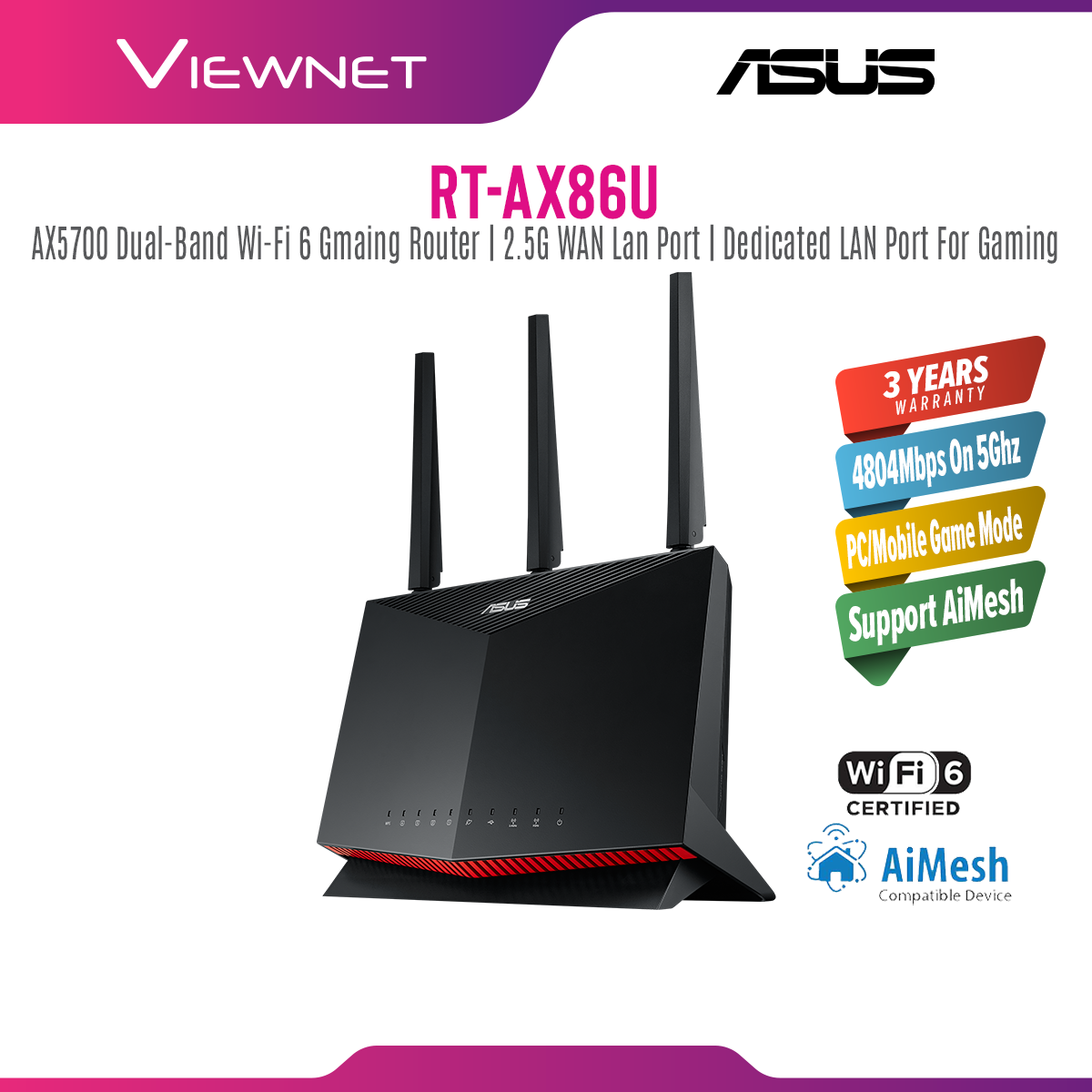 ASUS RT-AX86U/RT-AX86S AX5700 Dual Band WiFi 6 Gaming Router with AiMesh Support, Parental Control, Lifetime free Internet Security USB3.2 Gen 1 Port